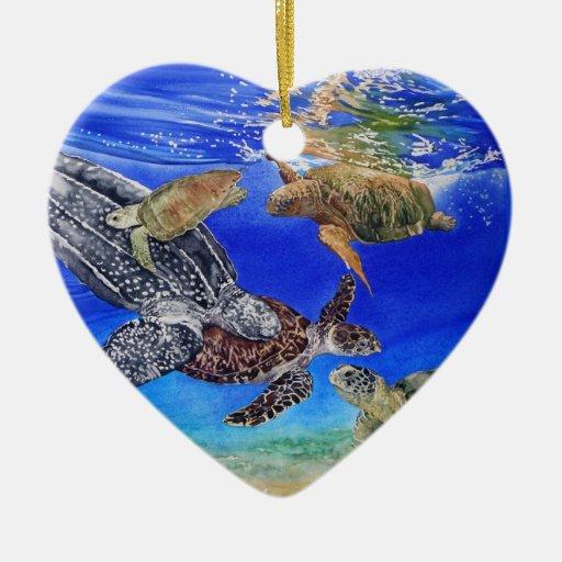 Ornamento del personalizable de la tortuga de mar adorno navideño de cerámica en forma de corazón