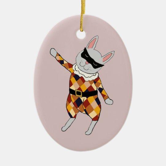 Ornamento del personalizable del conejito del adorno navideño ovalado de cerámica