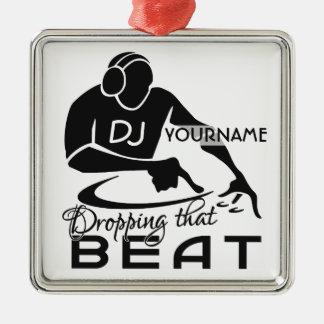 Ornamento del personalizado de DJ Adorno Navideño Cuadrado De Metal
