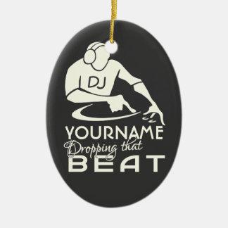 Ornamento del personalizado de DJ Adorno Ovalado De Cerámica