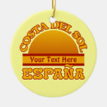 Ornamento del personalizado de ESPAÑA Costa del Adorno Navideño Redondo De Cerámica