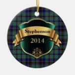 Ornamento del personalizado de la tela escocesa de adorno navideño redondo de cerámica