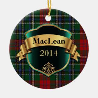 Ornamento del personalizado de la tela escocesa de adorno redondo de cerámica
