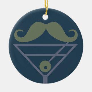 Ornamento del personalizado del bigote de Martini Adorno Navideño Redondo De Cerámica