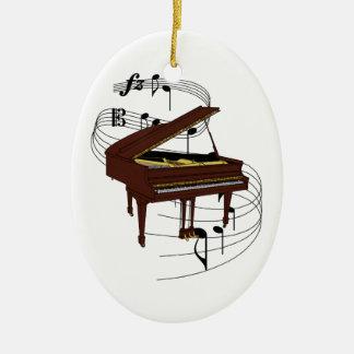 Ornamento del piano adorno navideño ovalado de cerámica