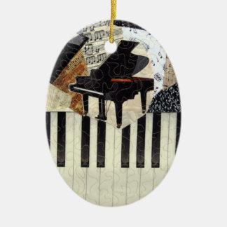 Ornamento del piano de cola adorno navideño ovalado de cerámica