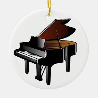 Ornamento del piano de piano de media cola adorno navideño redondo de cerámica