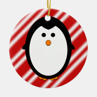 Ornamento del pingüino adorno navideño redondo de cerámica