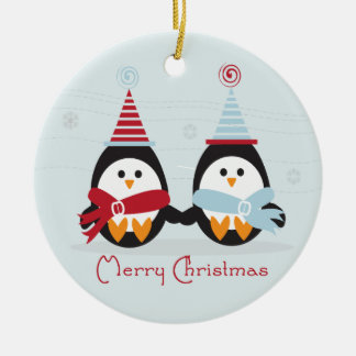 Ornamento del pingüino del navidad adorno redondo de cerámica
