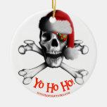 Ornamento del pirata del navidad adorno redondo de cerámica