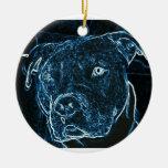 Ornamento del pitbull adorno navideño redondo de cerámica