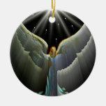 Ornamento del poder del ángel adorno redondo de cerámica