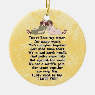 Ornamento del poema de la hermana adorno redondo de cerámica