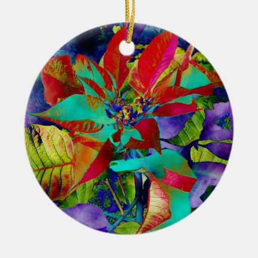 Ornamento del Poinsettia del navidad Adorno Navideño Redondo De Cerámica