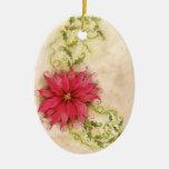 Ornamento del Poinsettia y del acebo Ornamentos De Navidad