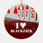 Ornamento del póker del amor de la veintiuna del adorno navideño redondo de cerámica