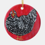 Ornamento del pollo adorno navideño redondo de cerámica