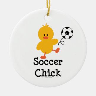 Ornamento del polluelo del fútbol adorno navideño redondo de cerámica
