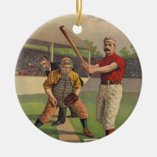 Ornamento del poster del béisbol del vintage adorno redondo de cerámica