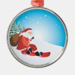 Ornamento del premio de la snowboard de Santa Ornamentos De Reyes Magos