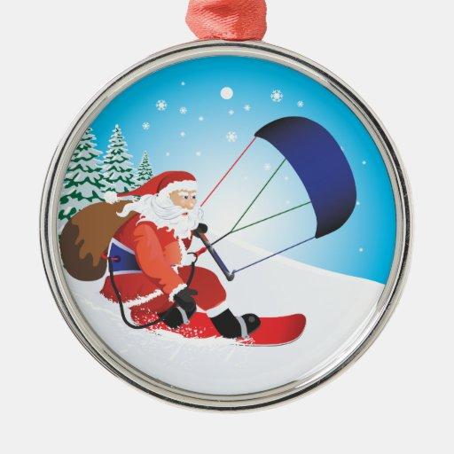 Ornamento del premio de la snowboard de Santa Snow Adorno