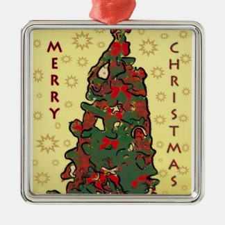 Ornamento del premio del cuadrado de las Felices N Adorno De Navidad