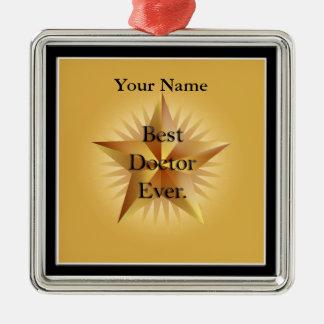 Ornamento del premio del doctor Gold Star Best Adorno Cuadrado Plateado