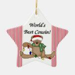 Ornamento del primo del mundo del oso de peluche e adorno para reyes