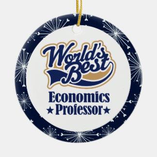 Ornamento del profesor de economía regalo adorno navideño redondo de cerámica