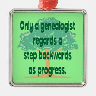 Ornamento del progreso de la genealogía adorno cuadrado plateado