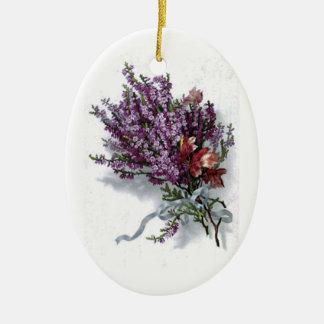 Ornamento del ramo de la lavanda del vintage adorno navideño ovalado de cerámica
