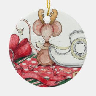 Ornamento del ratón del envoltorio para regalos adorno navideño redondo de cerámica