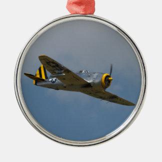 Ornamento del rayo P-47 Adorno Redondo Plateado