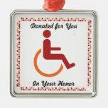 Ornamento del reconocimiento de la donación de adorno de navidad