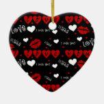 Ornamento del recuerdo de los corazones te amo adorno para reyes