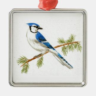 Ornamento del recuerdo del arrendajo azul adorno cuadrado plateado