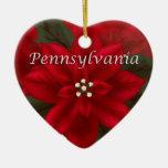 Ornamento del recuerdo del corazón del Poinsettia Adorno Navideño De Cerámica En Forma De Corazón