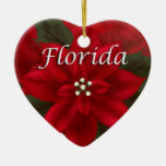 Ornamento del recuerdo del corazón del Poinsettia  Ornamento De Reyes Magos
