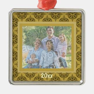 Ornamento del recuerdo del damasco del oro adorno navideño cuadrado de metal