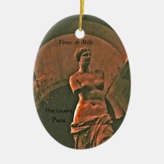 Ornamento del recuerdo del Louvre de Venus de Milo Adorno Ovalado De Cerámica