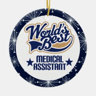 Ornamento del regalo del auxiliar médico adorno navideño redondo de cerámica
