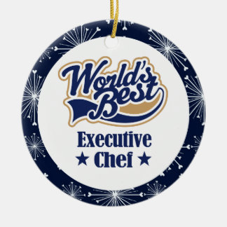 Ornamento del regalo del chef ejecutivo adorno navideño redondo de cerámica