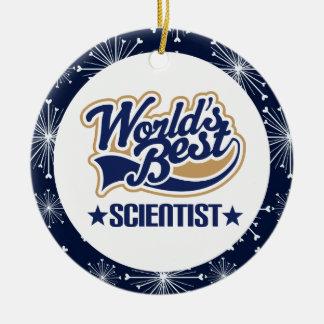 Ornamento del regalo del científico adorno navideño redondo de cerámica