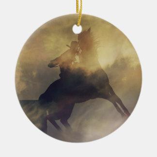 Ornamento del regalo del corredor del barril adorno navideño redondo de cerámica