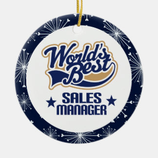 Ornamento del regalo del encargado de ventas adorno redondo de cerámica