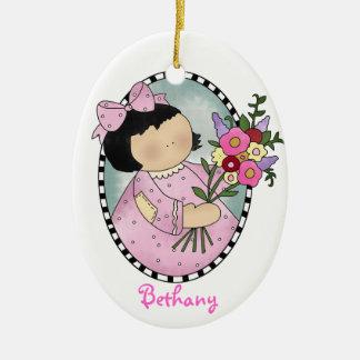 Ornamento del regalo del florista adorno ovalado de cerámica