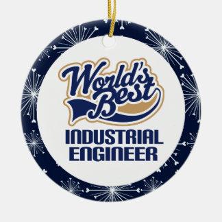 Ornamento del regalo del ingeniero industrial adorno navideño redondo de cerámica