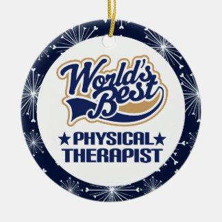 Ornamento del regalo del terapeuta físico adorno navideño redondo de cerámica