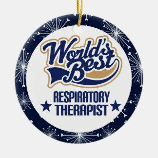 Ornamento del regalo del terapeuta respiratorio adorno navideño redondo de cerámica
