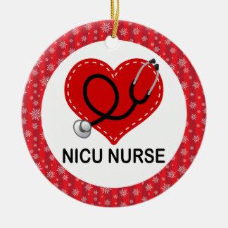 Ornamento del regalo del trabajo de la enfermera adorno navideño redondo de cerámica